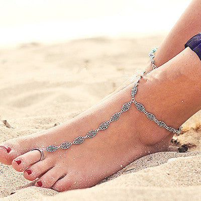 Vintage Silver Ankle Bracelet Foot Jewelry Turquoise Barefoot Sandals Anklets for Women Tornozeleira Chaine Cheville Bijoux 2016 Flowers with ring-Sunetra