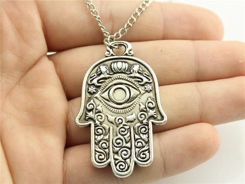 Antique bronze ~antique silver tone ~ 48*30mm Hamsa Hand pendant ~ 70cm chain-Sunetra