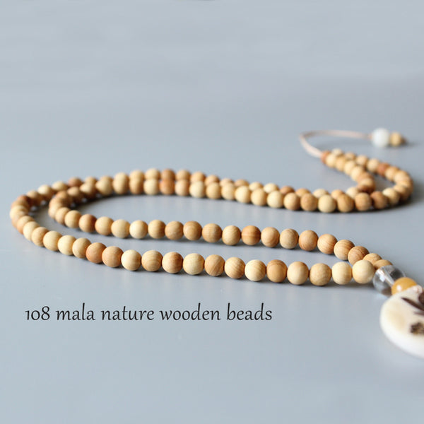 Wholesale Artisan Design Natural Wood 108mala Beads Necklace With Tagua Nut Carved Lotus Flower Pendant Zen Buddhism OM Jewelry-Sunetra