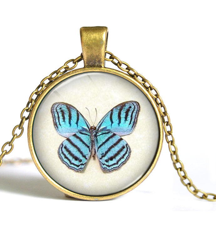 Wholesale Glass Dome Necklace Vintage Jewelry Fashion Butterfly Collares For Women Statement Pendant Necklace G1-Sunetra