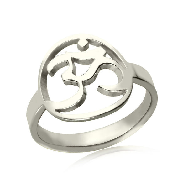 Sterling Silver Yoga OM Ring ~Cut Out Yoga Ring Bring You Peace and Calm Yoga Jewelry ~-Sunetra
