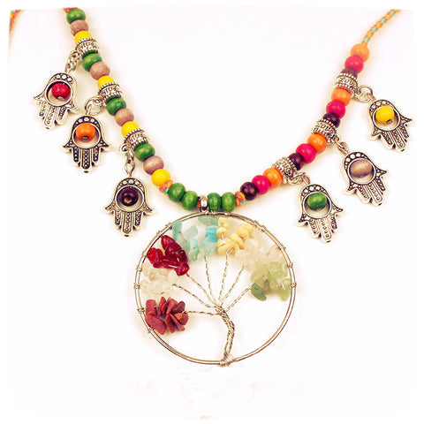 Necklace Tree Of Life pendant Necklaces ~ Cotton rope chain-Sunetra