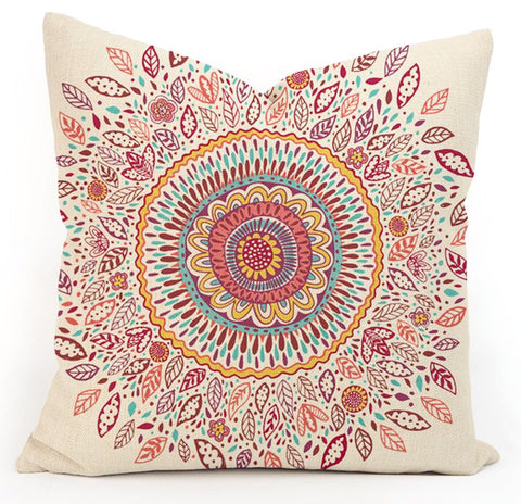 Bohemian throw pillow case ~mandala cushion cover ~45cm square