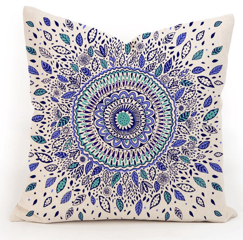 Bohemian throw pillow case ~mandala cushion cover ~45cm square two colors blue