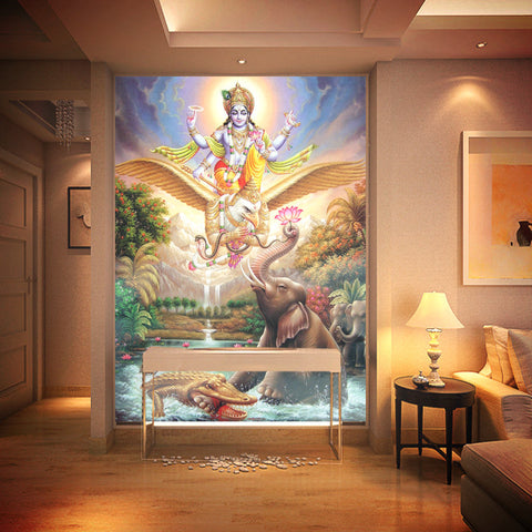 "Large mural ~ Hindu God ""KRISHNA"" wallpaper-Sunetra"