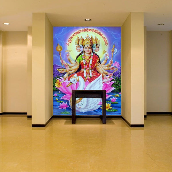 "Large wallpaper 3d ~ Hindu Goddess of Wealth and Wise ""LAKHMI ""-Sunetra"