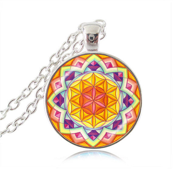Silver plated necklace mandala necklaces chakra pendant OM jewelry for women glass cabochon pendants Zen gifts jewellery vintage 6-Sunetra