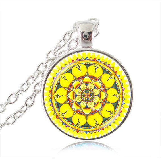 Silver plated necklace mandala necklaces chakra pendant OM jewelry for women glass cabochon pendants Zen gifts jewellery vintage 4-Sunetra
