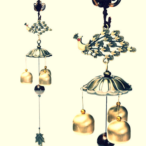 Yazi Traditional Chinese Style Retro Peacock Copper 3 Bells ~Wind Chimes Antique Bronze Noisemaker-Sunetra