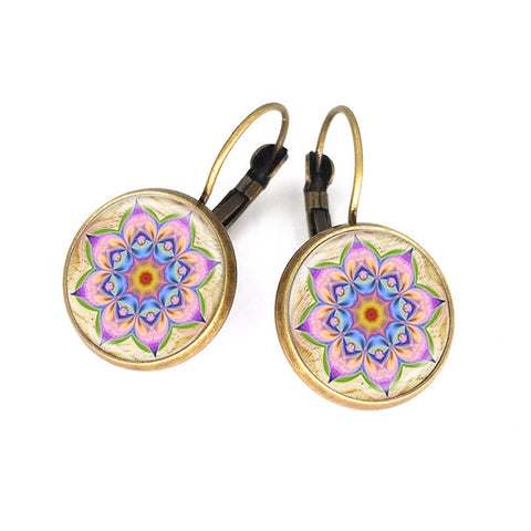 Unique a pair mandala flower earring glass ~ Henna handmade earrings-Sunetra