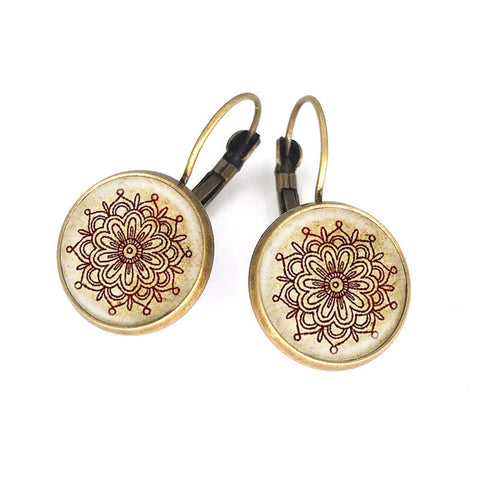 Unique pair of mandala flower earring glass ~ Henna handmade earrings-Sunetra