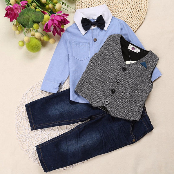 4 piece boys outfit with tie and vest
