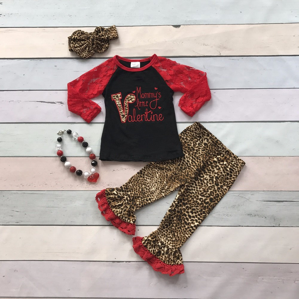 Mommy's Little Valentine Outfit- animal print, lace and love!
