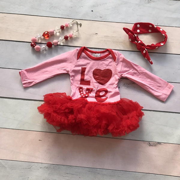 precious boutique tutu onesie for baby girls Valentines outfit