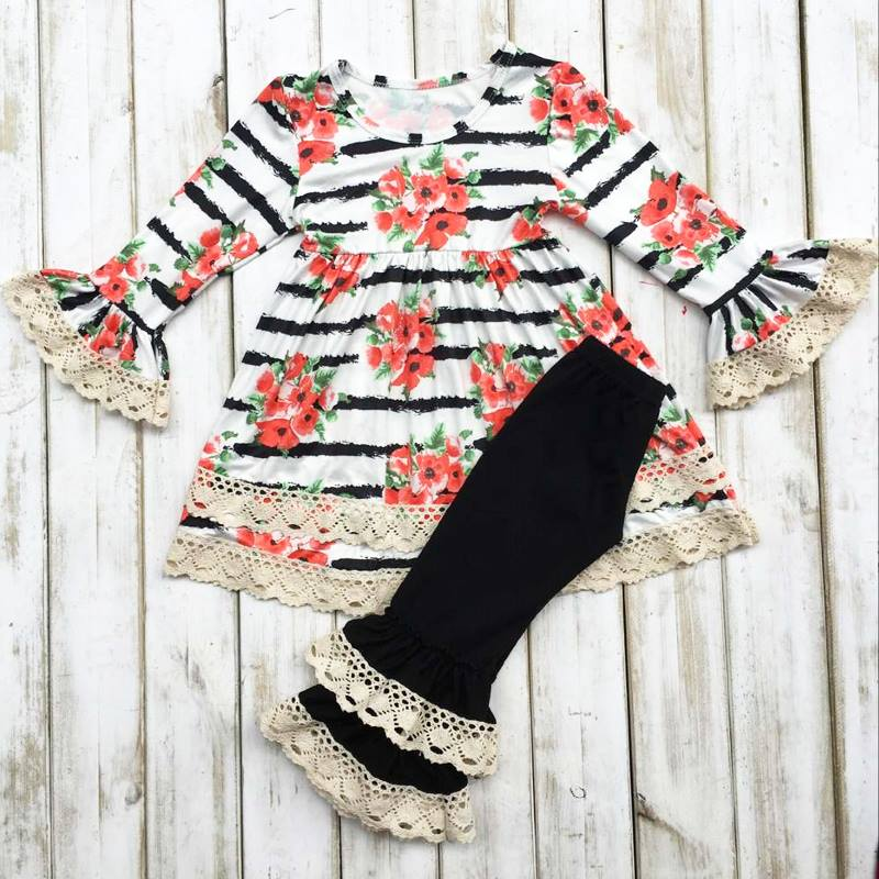 gorgeous floral boutique set for girls, red floral, stripes, and ruffled lace pants for a complete girls boutique set