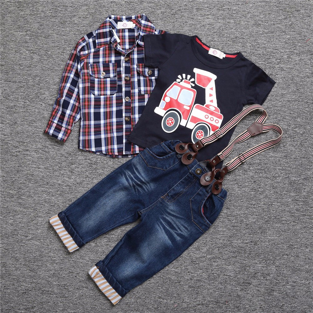 Boys plaid shirt trucker t-shirt and jeans with suspenders