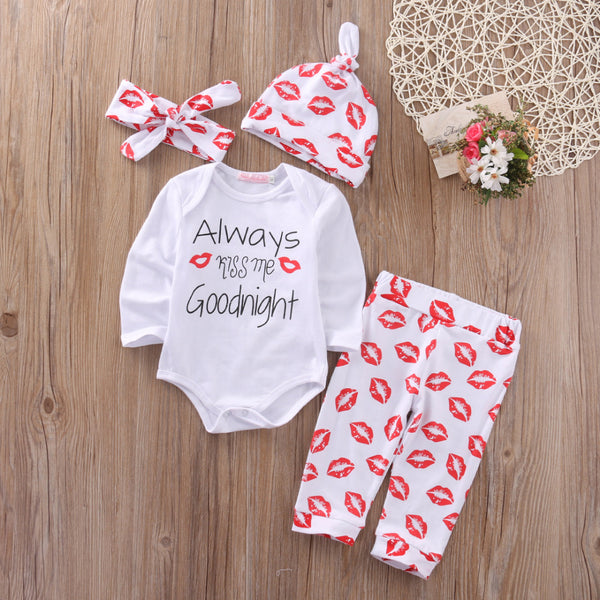 baby girl boutique outfit, always kiss me goodnight onesie, kiss pants and matching hat headband