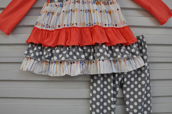 Arrow & Polka Dot Ruffle Set