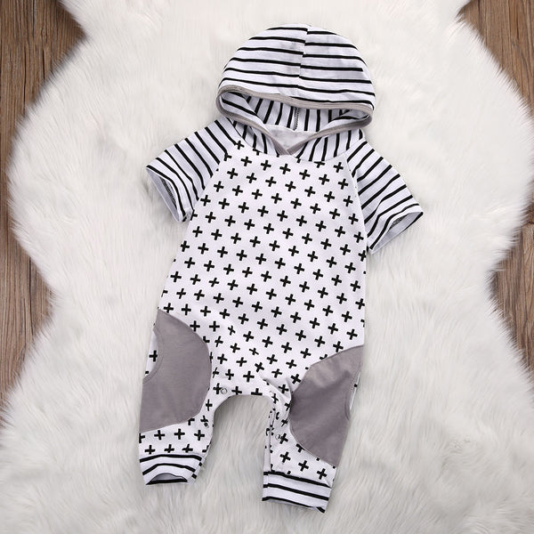 cute gray hoodie romper for baby boy, baby boutique outfit with patchwork geometric design, warm hoodie romper, boys boutique