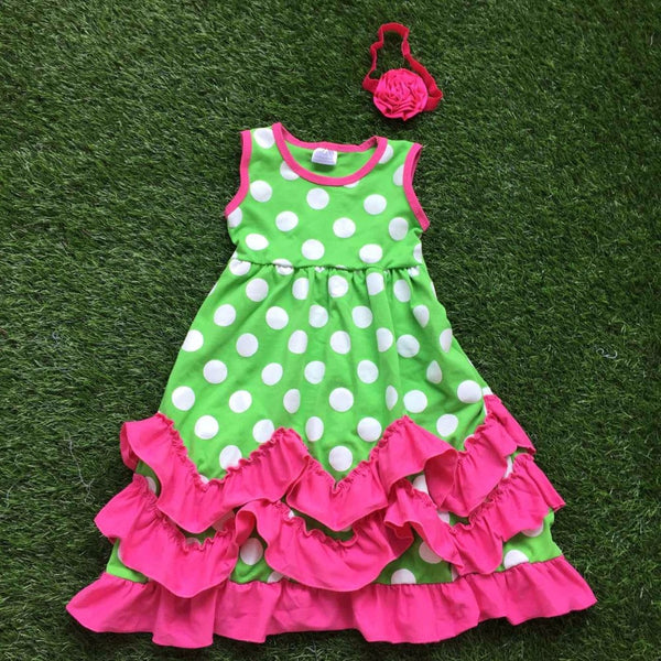 Polka dot ruffled boutique dress for girls under $20