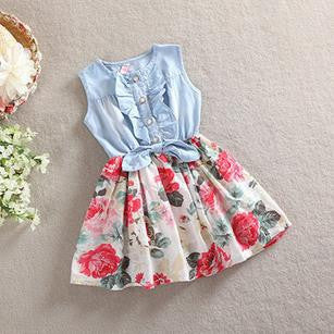 adorable boutique spring dress for girls, denim and floral dress