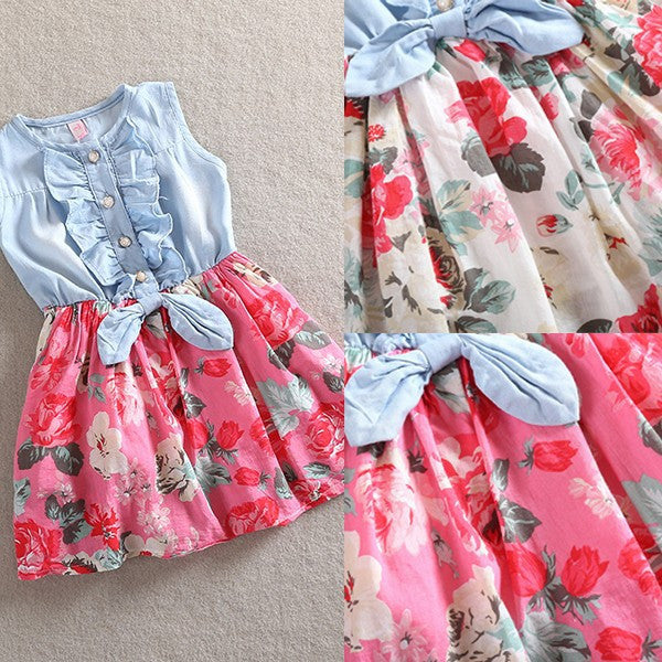 Denim Spring Floral Dress (white)