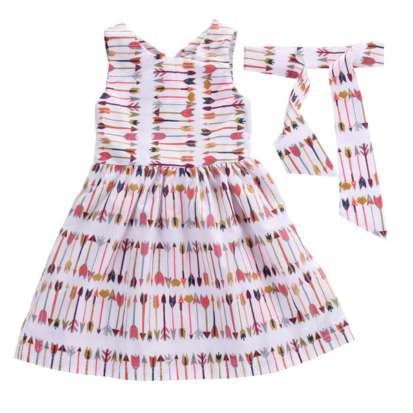 beautiful arrow aztec dress for girls this fall, fall dress design, fall boutique dress for toddlers