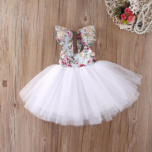 tutu princess dress for little girls, wedding or special occasion dress, floral summer dress wholesale