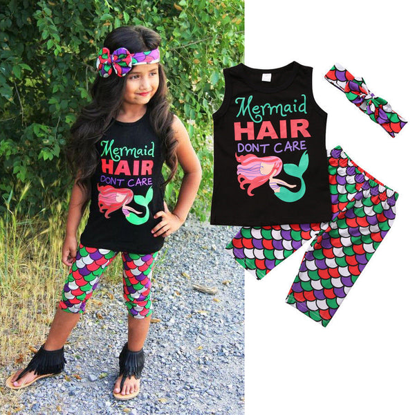 mermaid hair don't care boutique outfit for girls, mermaid leggings and matching headband, toddler girl boutique for wholesale
