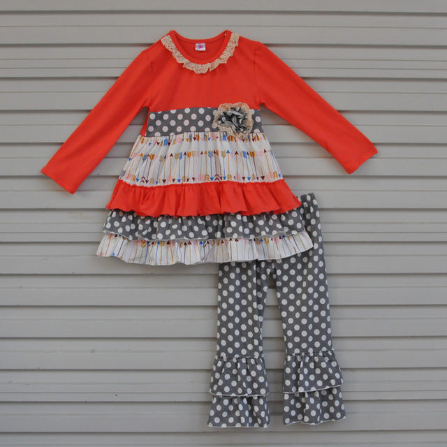 girls boutique outfit for fall and winter, ruffles and polka dots