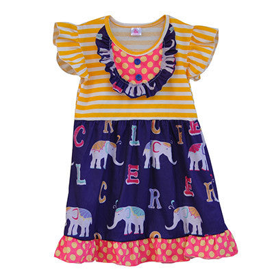 adorable boutique elephant dress for girls, great summer and back to school outfit