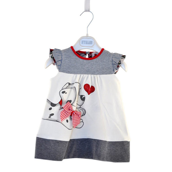 love dogs boutique dress for little girls, summer tunic gray ruffles