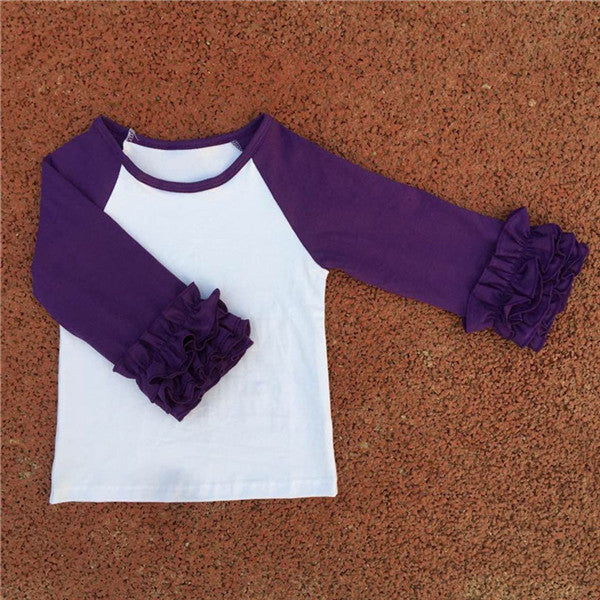 adorable boutique ruffled raglans for girls at a wholesale price, multiple colors!