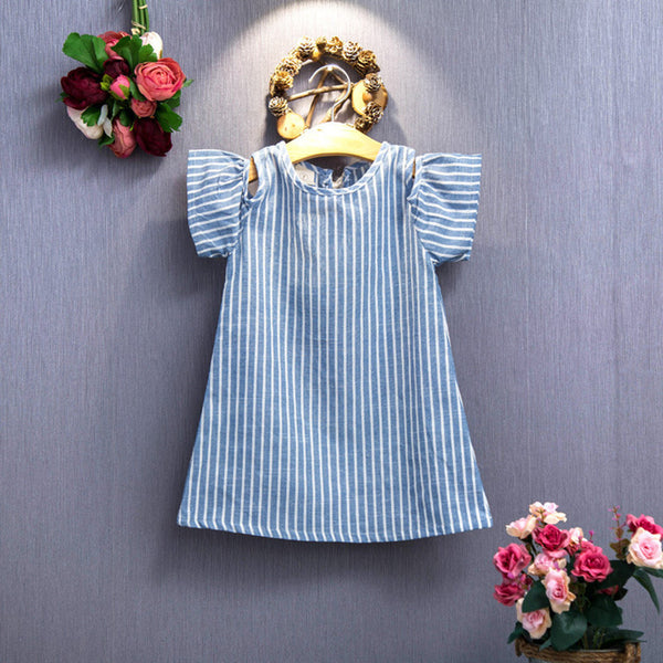 denim striped boutique dress for girls