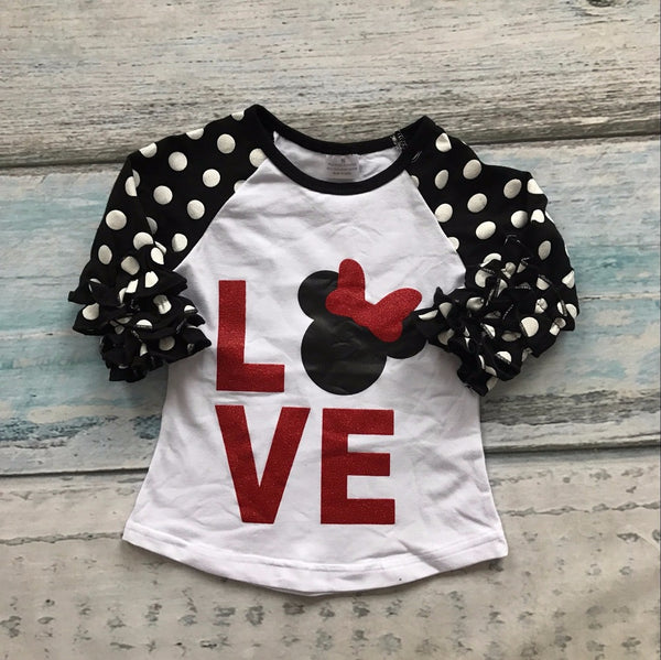 Love raglan for Valentines day, polka dot ruffled sleeves and Minnie mouse raglan, girls boutique Valentines top