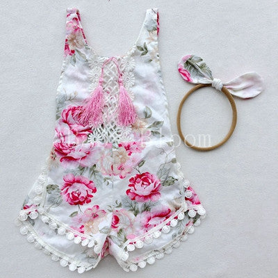 trendy pink floral boutique baby romper, sparkle in pink wholesale