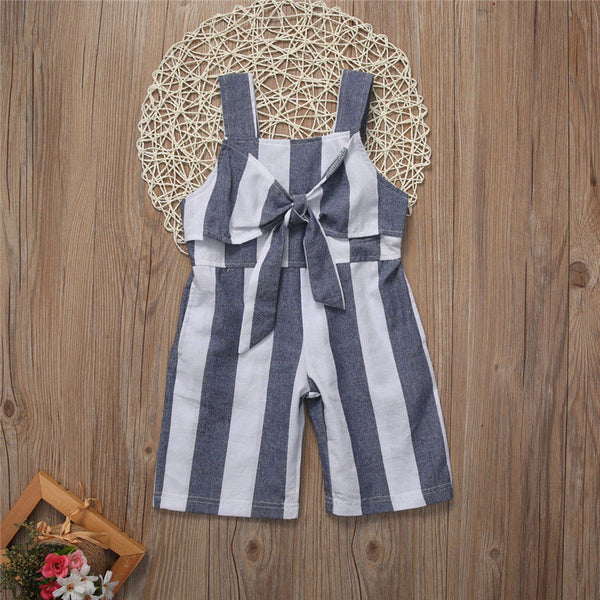 Blue n White Striped Toddler Jumpsuit