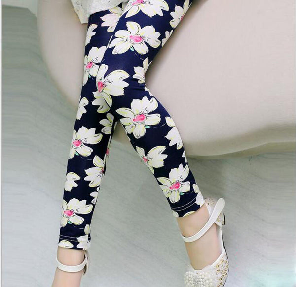 girls cute floral leggings for fall, toddler leggings, soft warm cheap leggings
