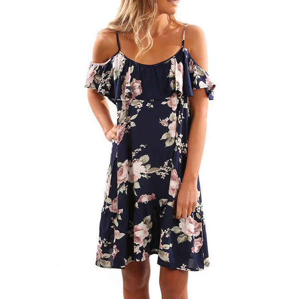 super cute spring dresses, floral butterfly sleeve dress for ladies, blue and white summer cold shoulder dress
