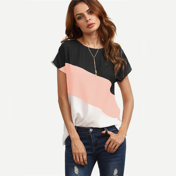 fashion boutique block top for women, cute spring boutique tops, patchwork pink black and white design