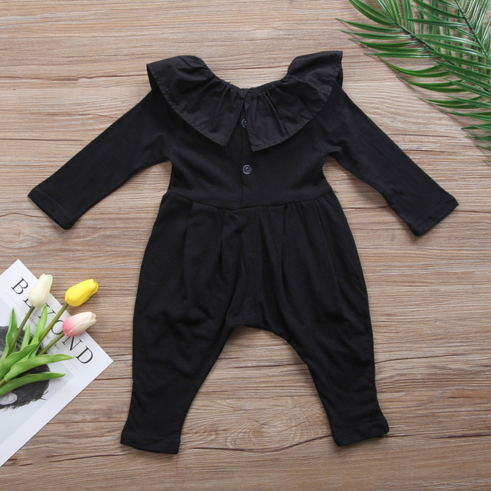 cute boutique black ruffled romper for baby girls, wholesale boutique for girls, sparkle in pink