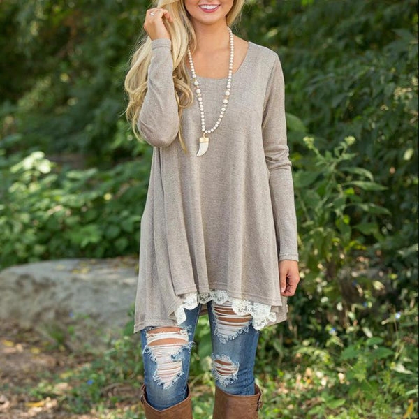 trendy fall tunic for women, lace lined sweater for girls, affordable boutique