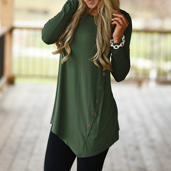 boutique tops for women, soft button tunic, trendy looks for ladies