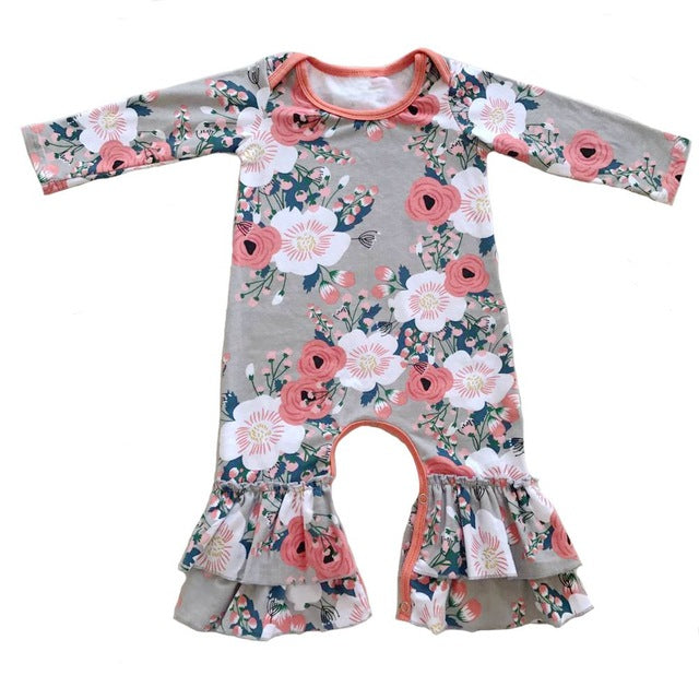 adorable floral ruffled romper for baby girls, fall baby boutique