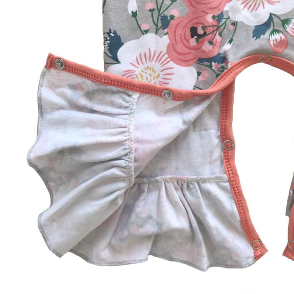 Gray Floral Baby Romper