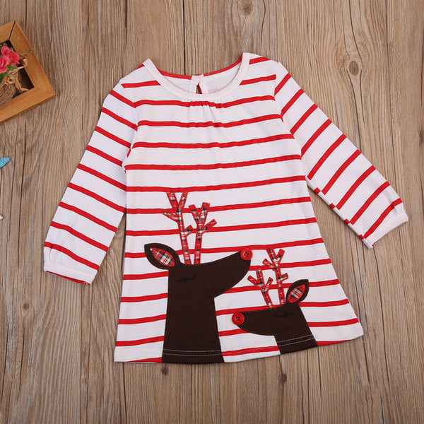 Red Striped Reindeer Dress