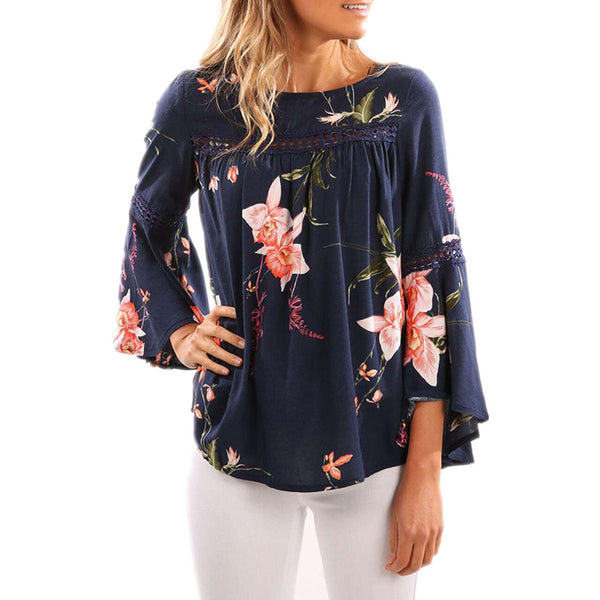 cute floral fall tops for women, fashion floral shoulder top, bell sleeve