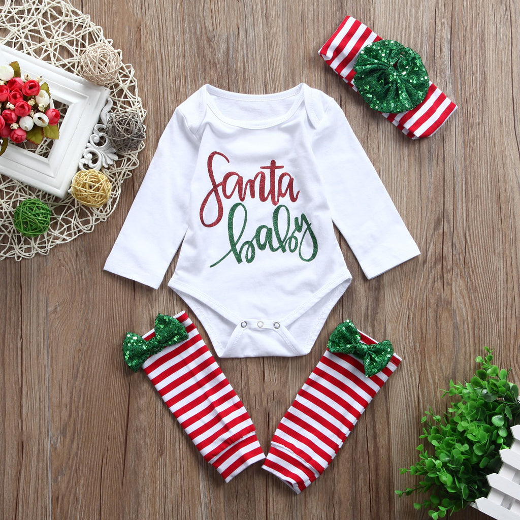 baby first christmas outfit santa baby onesie with legwarmers and bow