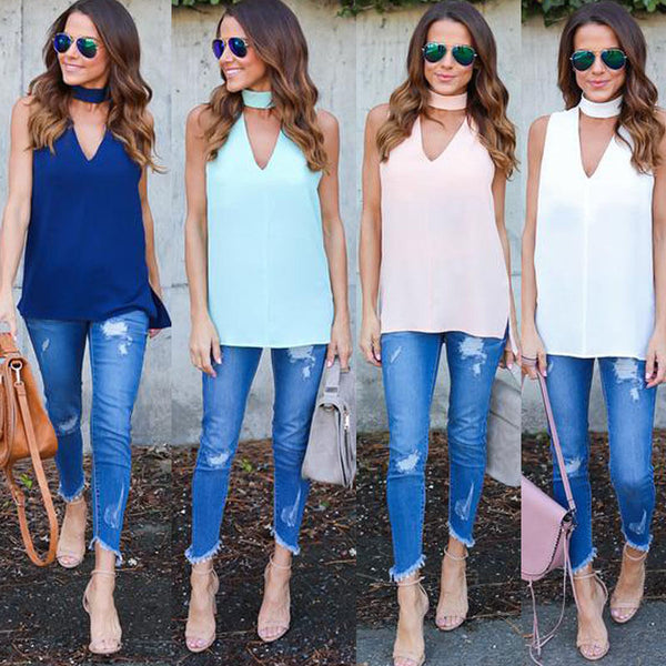 adorable summer tops for ladies, girls choker tank tops