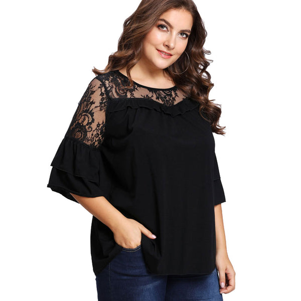 gorgeous black lace top for extended sizes, plus size boutique top, butterfly sleeve